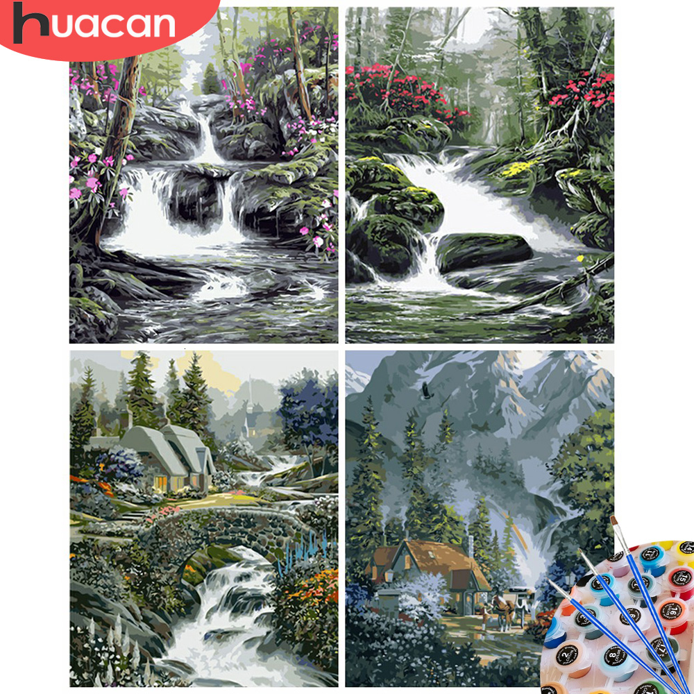 HUACAN Oil Painting By Numbers Landscape Acrylic Drawing Canvas River Picture For Adults Home Decoration Gift Wall Art