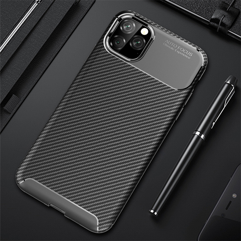 For iPhone 11 Pro Max Case Luxury Fiber Leather Business Back Cover for iPhone 11 Case TPU Silicone Accessories (XS0311)