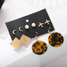 geometric leopard print acrylic earrings fashion simulated pearl moon plane stud set for women 2019 new jewelry gift