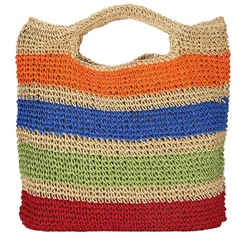 Fashion Crochet Summer Beach Bags Colorful Straw Bag Tasselled Women Travel Handmade Handbags Girl Tote Bag