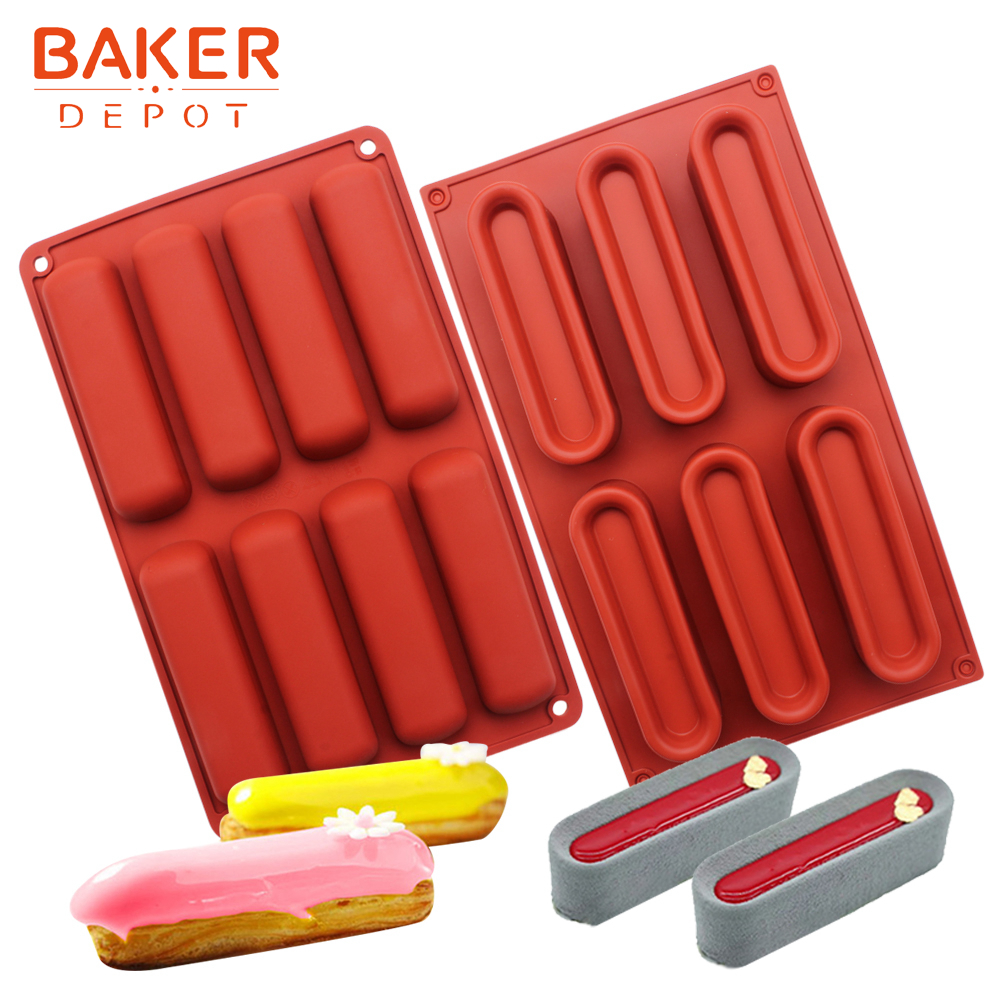 <font><b>BAKER</b></font> <font><b>DEPOT</b></font> Silicone mold for mousse cake oval bread biscuit dessert chocolate form cake decorating 6 hole soap resin tool image