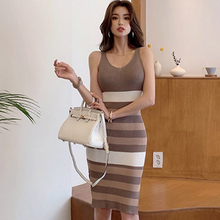 H Han Queen New Spaghetti Strap Stretch Knitted Pencil Dresses Simple V-neck Stripe Work Party Summer Dress Bodycon Dress Women