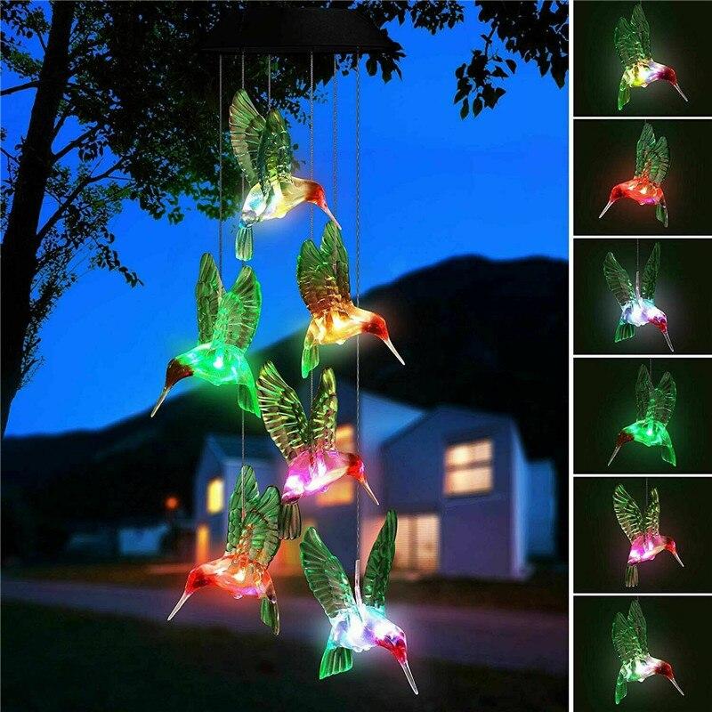 ZANCAKA Outdoor Waterproof Solar Light Colorful LED Hummingbird Wind Chime Solar Powered Lights Color-Changing Yard Garden Decor