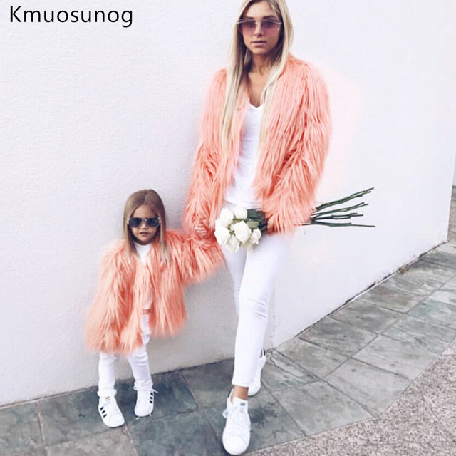 Winter Family Matching Clothing Mother Daughter Fur Faux Tassels Coat Thicken Warm Outwear Mom Girls Matching Jackets H0931
