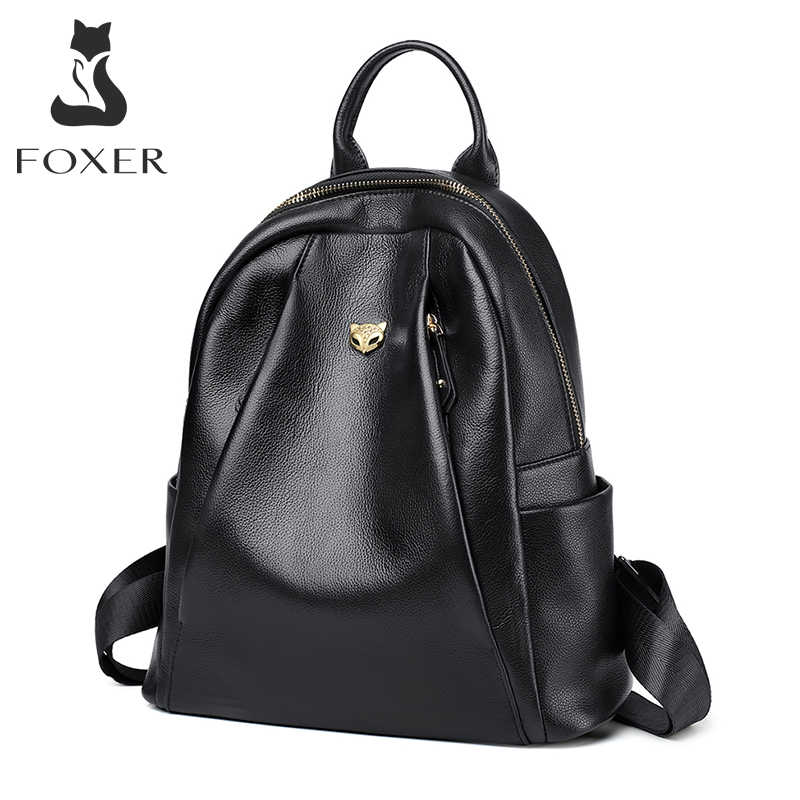 FOXER 여성 정품 암소 가죽 통근 스타일 배낭 여자의 학교 가방 숙녀 부드러운 Preppy 스타일 여성 패션 여행 가방