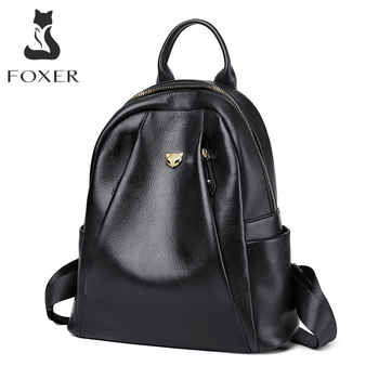 new arrival women backpack 100% genuine leather ladies travel bags preppy style schoolbags for girls knapsack holiday FOXER Women Genuine Cow Leather Commuter Style Backpacks Girl's School Bags Ladies Soft Preppy Style Female Fashion Travel Bags