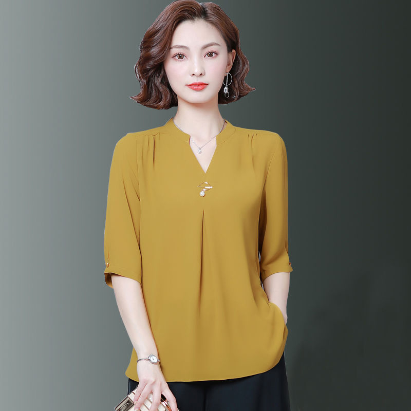 Women Spring Summer Style Chiffon Blouses Shirts Lady Casual Half Sleeve V-Neck Loose Style Blusas Tops DF2867