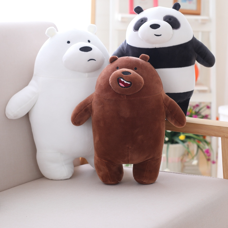 Anime Cartoon The Three Bare Bears Very Soft Plush Doll Cute Standing Panda Polar Bear Teddy Stuffed Toys Decoration Gifts