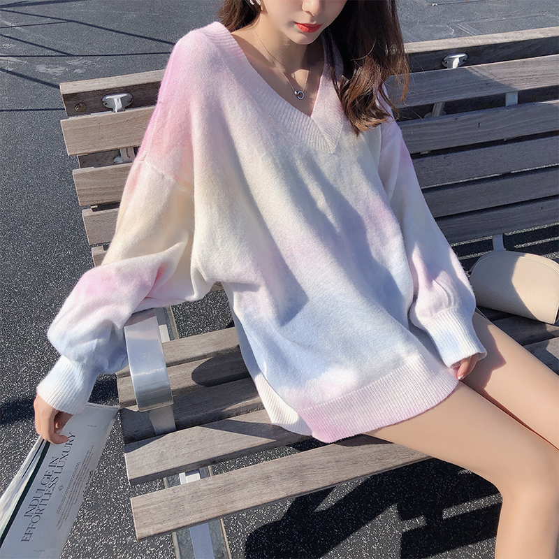 MISHOW 2019 Autumn Rainbow Pink Sweater Women V-neck Loose Long Sleeves Knit Pullover Over Size Outer Wear Tops MX19C5425