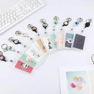 Women Men Business Card Holder Cartoon Cute Retractable Credit Card Holders Bank ID Holders Badge Child Bus Card Case Cover