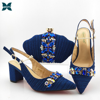 2020 Newest Fashion Italian design Shoes and matching Bag High Quality African Women Shoes And Bag Set in Royal Blue for Party