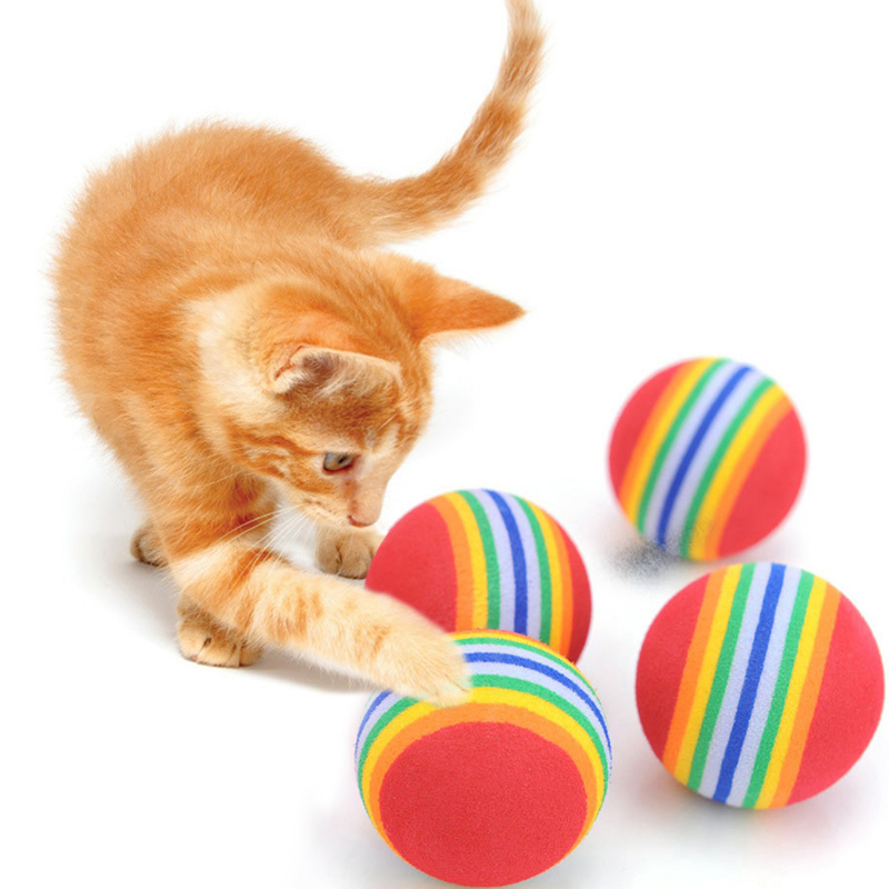 2Pcs Rainbow Toy Ball Interactive 3.5m Cat Toys Play Chew Rattle Scratch EVA Ball Training Pet Supplies