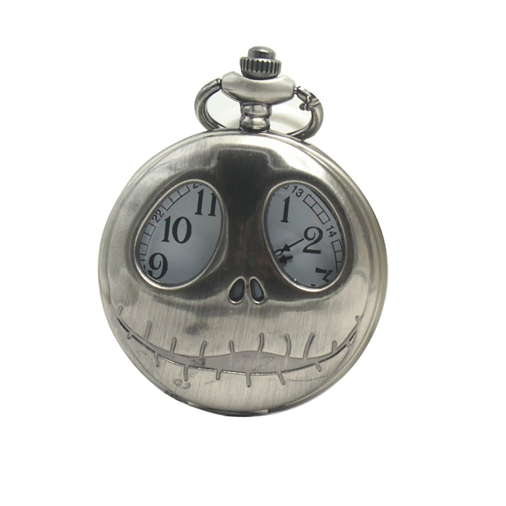 New Classic Retro Christmas Night Horror Hollow Skull Flip Pocket Watch Stainless Steel Case Alloy Chain