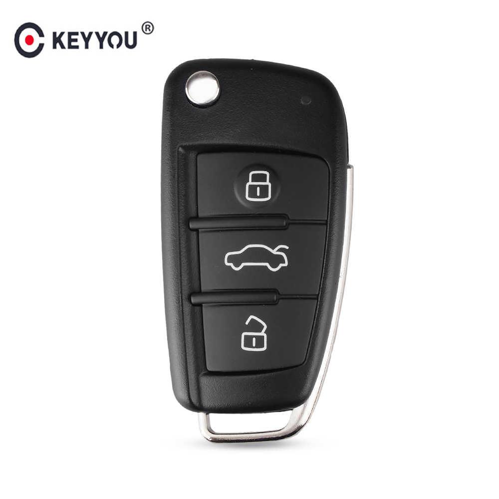 KEYYOU 3 Nút Gấp Từ Xa Lật Xe Chìa Khóa Vỏ Fob Dành Cho Xe Audi A2 A3 A4 A6 A6L A8 Q7 TT Key Fob Ốp Lưng Thay Thế