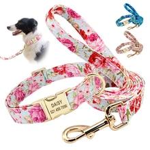 Персонализированный собачий ошейник с принтом, набор поводков, индивидуальный нейлоновый ошейник для питомца, поводок, Выгравированная табличка для маленьких, средних и больших собак