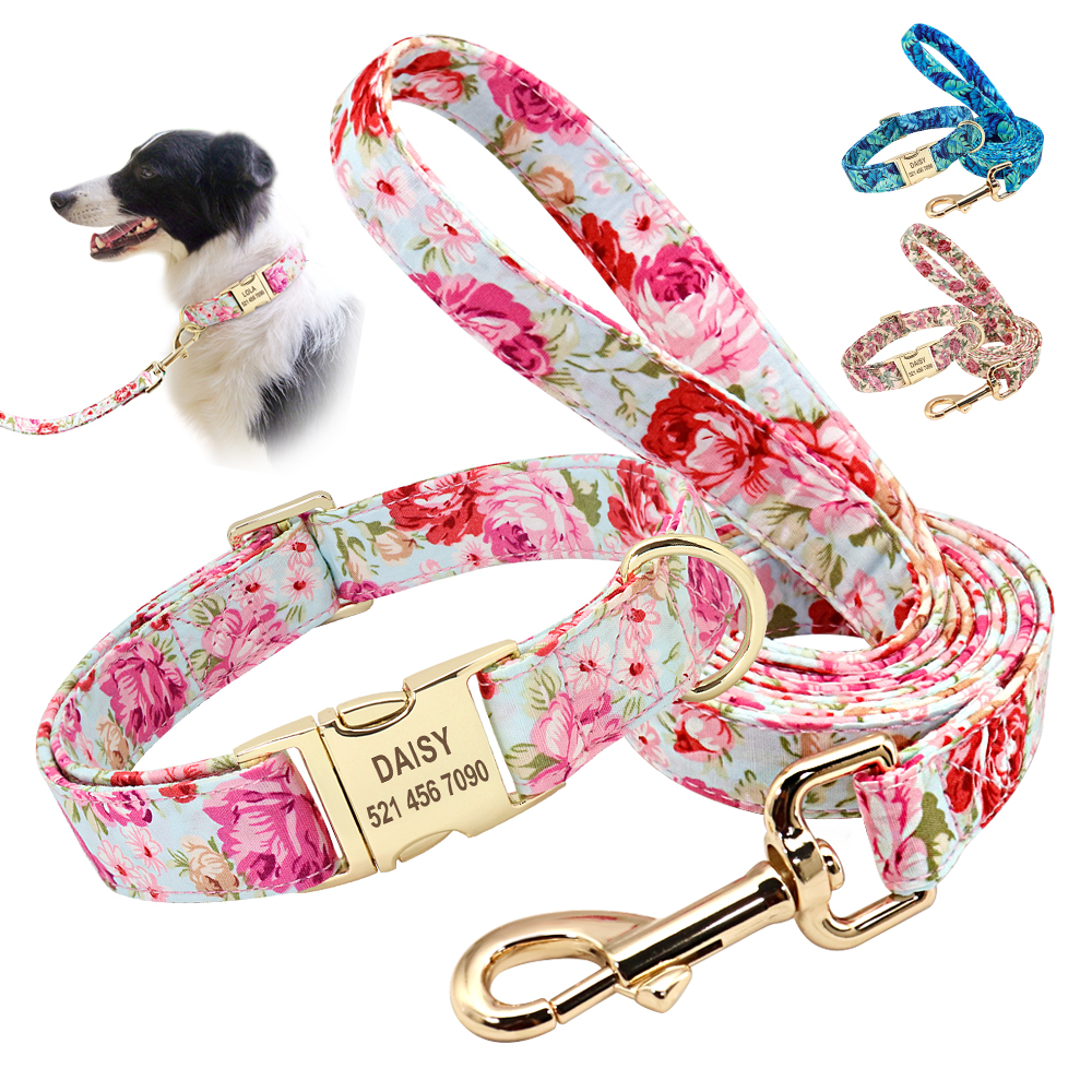 Personalized Printed Dog Collar Leash Set Customized Nylon Pet Collar Leash Free Engraved Nameplate For Small Medium Large Dogs