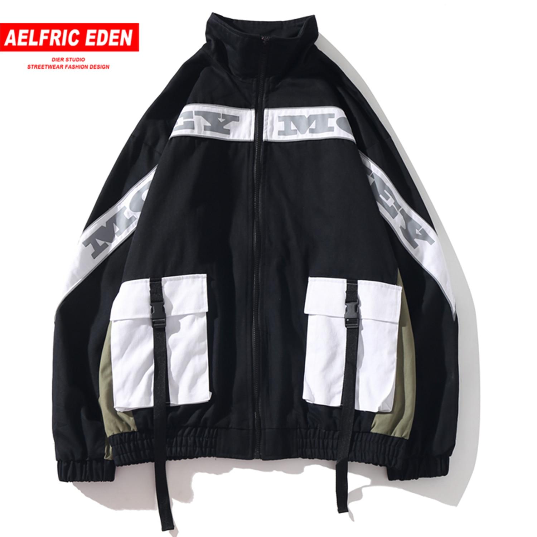 Aelfric Eden Patchwork Multi Pockets Ribbons Mens Jackets 2019 Harajuku Casual Cotton Coats Hip Hop Male Fashion Tops Streetwear