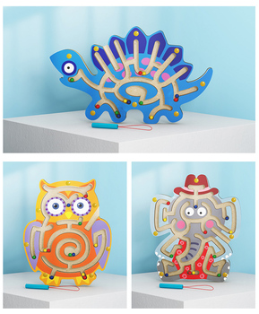 Wooden Animal Brain Maze Toy Children Magnetic Kids Puzzle Game Kid Educational Montessori Learning