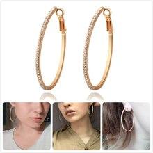 цена на Luxury Sparkling Big Hoop Earrings For Women Wedding Party Crystal Zircon Earrings Girl Gift Rose Gold Rhinestone Ear Hoops R5