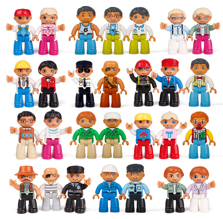 Big Size Community Series Walking Figures Toys For Large Building Blocks Compatible With Duplo Bricks Toys For Children