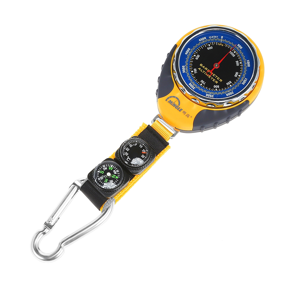 Outdoor Mountaineering Altitude Meter Altimeter Thermometer Compass Barometer Mechanical Thermometer Carabiner Four-in-one -