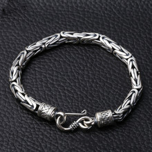 5MM Width Male Bracelet 925 Sterling Silver Bangles Men Jewelry Thai Rope Chain 19CM 22CM Fine Present For Boyfriend