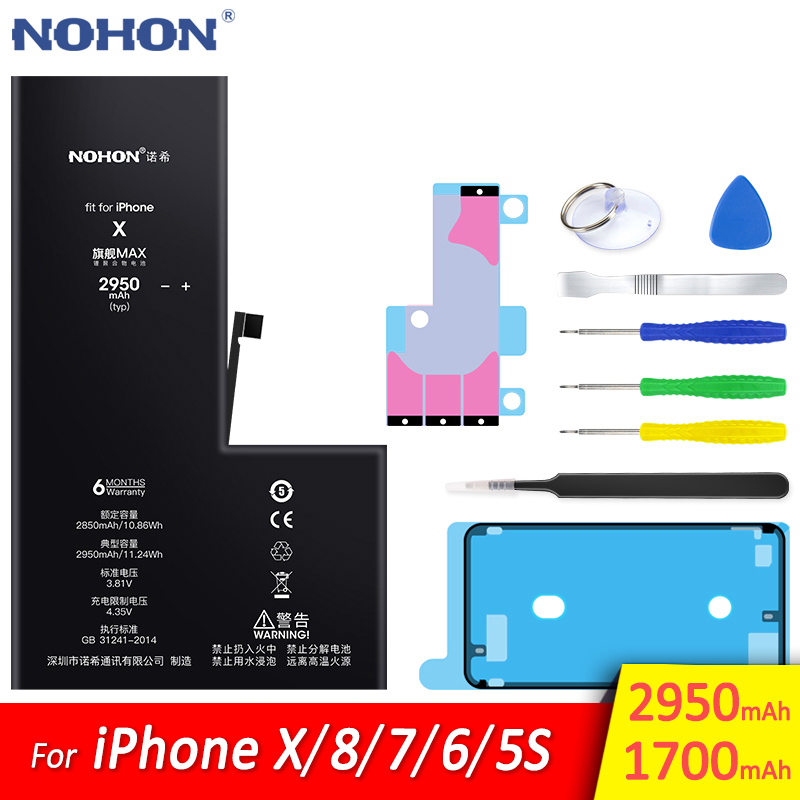 NOHON Original Battery For Apple iPhone X 8 7 6 5S 5C Replacement High Capacity Mobile Phone Batarya Lithium Polymer Bateria image