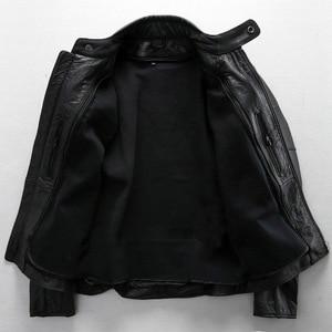 Image 3 - משלוח חינם. בתוספת גודל קלאסי גברים פרה עור מעילים, גברים של אמיתי עור אופנוען. מותג מנוע עור מעיל