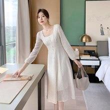 Женское платье с квадратным вырезом элегантное в стиле ретро