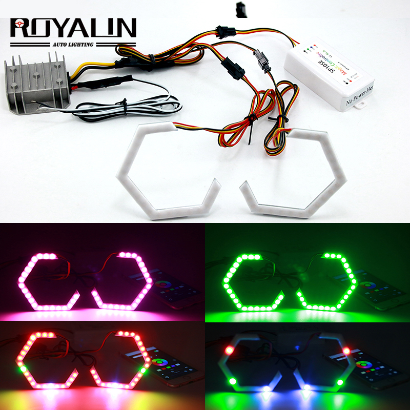 ROYALIN Hex Halo Rings RGBW Bluetooth Controller LED Angel Eyes DRL Multicolor Projector Headlight Lenses Car Light Accessories