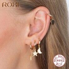 ROXI Glossy Jewelry Ear Sets Heart Moon Star Lightning Hoop Earrings for Women Girls Unusual Earring Trendy 925 Sterling Silver