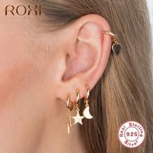 ROXI 광택 쥬얼리 귀 세트 하트 문 스타 번개 후프 귀걸이 여자 여자 비정상적인 귀걸이 유행 925 스털링 실버