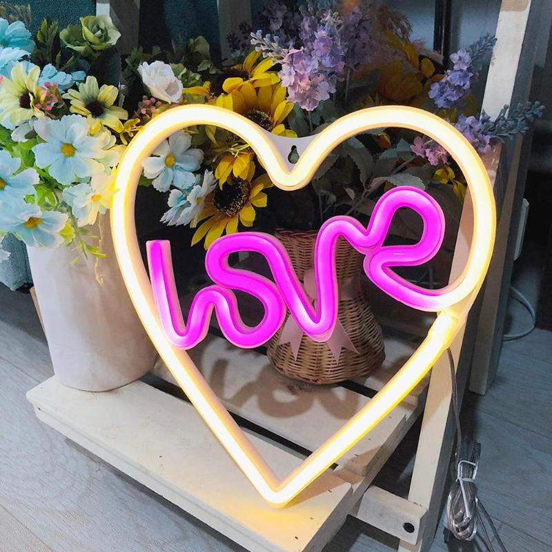 LED Neon Night Lights Energy Saving Environmental Protection Love USB Battery Valentine Xmas Festival Party Wall Decor