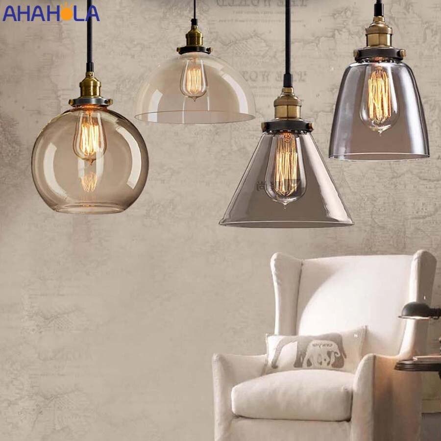 Nordique Loft Vintage pendentif lumières E27 verre cuisine lumières luminaire cordon suspension lampe maison déco Hanglampen