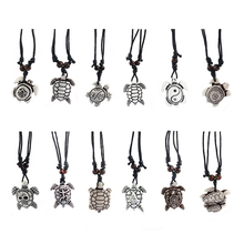 1pcs Fashion Jewelry Imitation Yak Bone Carved Lucky Surfing Sea Turtles Pendants Necklace Adjustable Wax Cord 17-33 inch