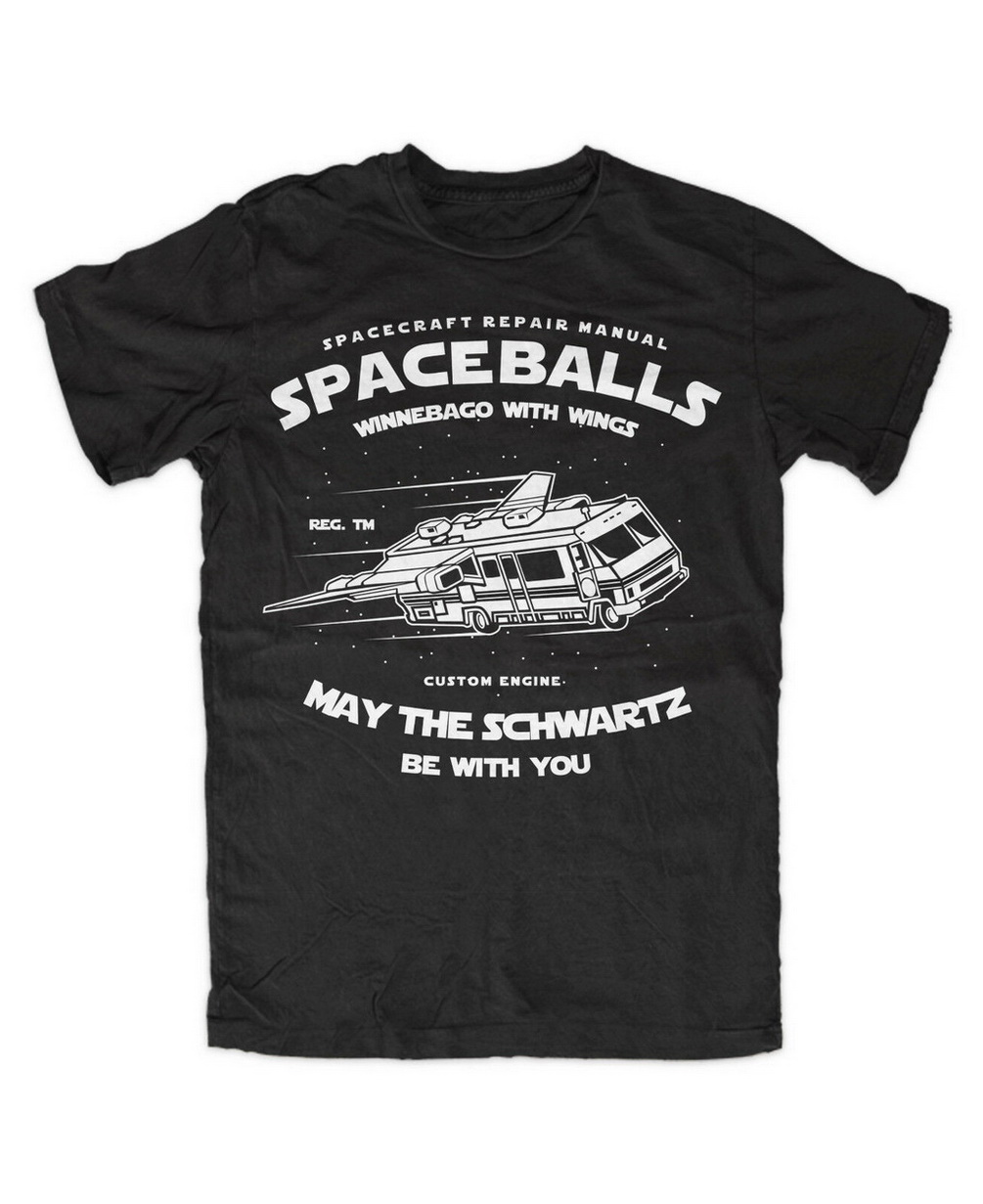 Spaceballs Premium T-Shirt May The Schwartz RV Car Flying Wings Lord Helmet Loose Size Top Tops TEE Shirt