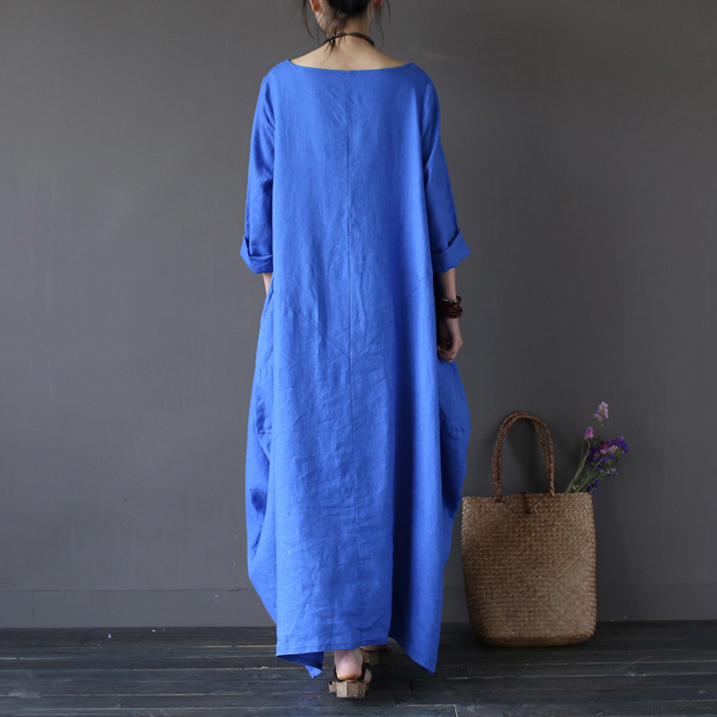 19 Summer autumn Plus Size Dresses Women 4xl 5xl Loose long vintage Dress Boho Shirt Dress Maxi Robe fashion Female Q293 13