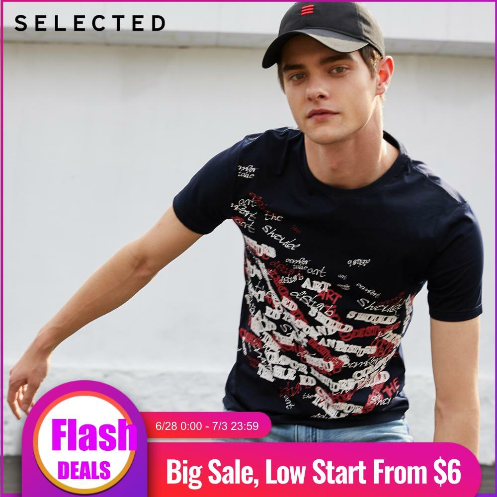 SELECTED Men's 100% Cotton Letter Printed Short-sleeved Casual Summer T-shirt S | 419201630