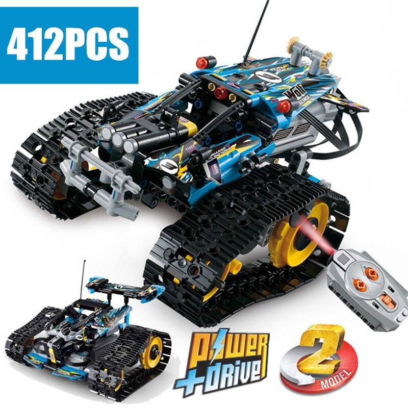 新しい MOC RC 追跡レーサー車電気モーター電源機能フィット Legoings テクニック市ビルディングブロックレンガモデル子供ギフト  グループ上の おもちゃ & ホビー からの ブロック の中 1