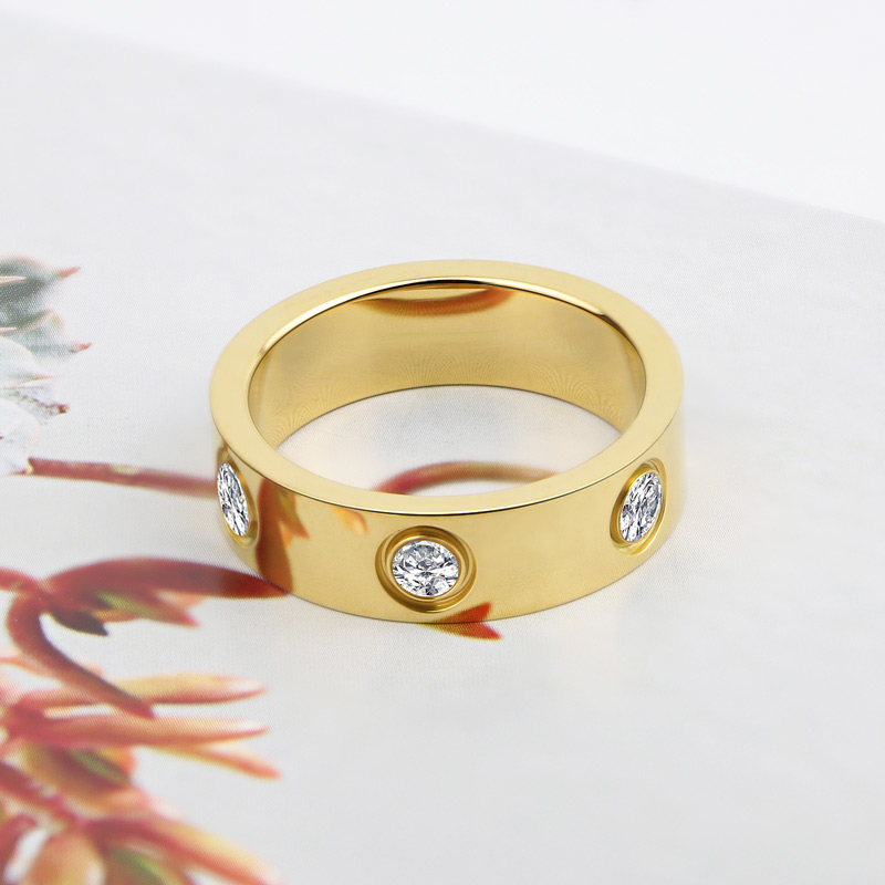 Luxury Shiny Rotating Circle Crystal Ring Stainless Steel Rose Gold Love Ring for Women Engagement gift Brands Ring 4