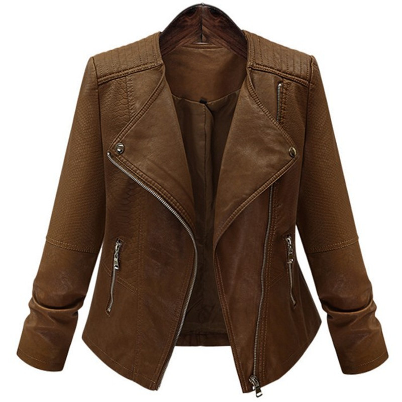 2018 Fashion Women Zipper Faux   Leather   Biker Jacket Brown Slim Ladies PU Casual Brand Motorcycle   Leather   female coat Plus Size