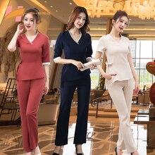 2020 new beauty salon work clothes autumn winter set pants sleeve female beautician health salon technician clothing