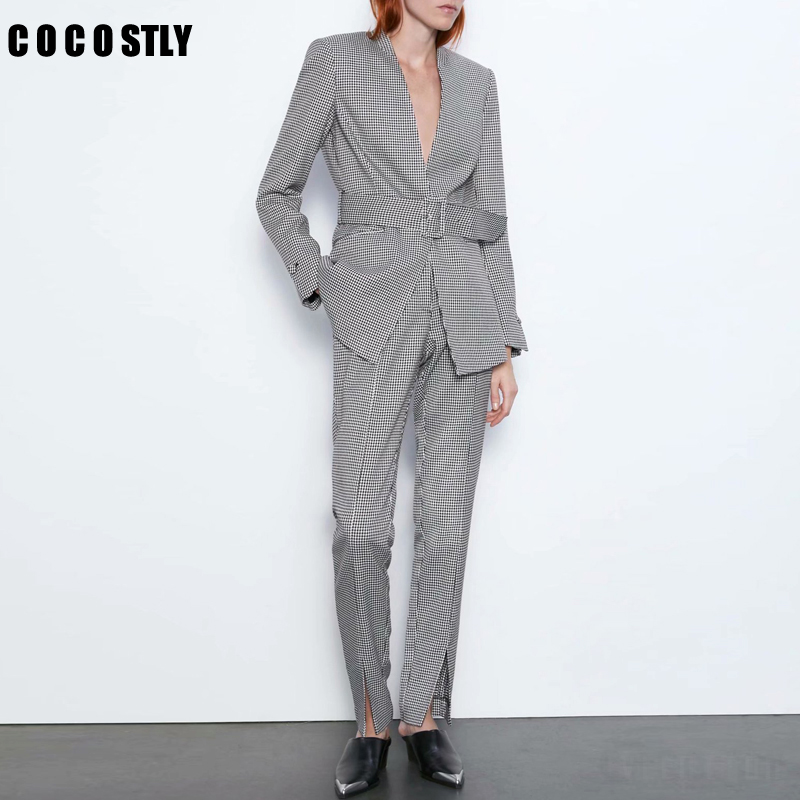 Autumn Work Office Pant Suits Women Sexy V-Neck Belt Blazer Jacket & Zipper Trousers Female Tweed Plaid Two Piece Set Feminino
