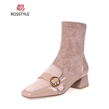 ROSSTYLE Luxury Woman Winter Ankle Boots High Quality Genuine Leather Square Toe Thick Heel Shoes Pink Elegant Buckle Lady Boots цена 2017
