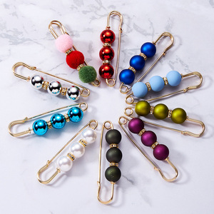 Image 5 - Big Colored Pearl Brooch Pin Dress Rhinestone Beads Decoration Buckle Safety Pin Jewelry Brooches For Shirt Collar Accessories