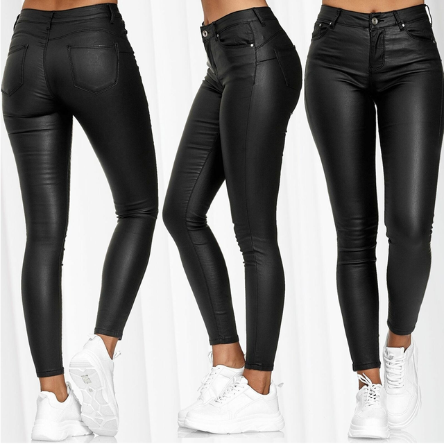 Spring Women Pu Leather Pants Black Sexy Stretch Bodycon Trousers Women High Waist Long Casual pencil pants top S-3XL plus size 4