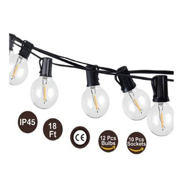 G40 1W LED String Lights 18Ft/26Ft  Globe Bulbs 2700K Waterproof Outdoor for Patio Garden Backyard Party Wedding Decorations