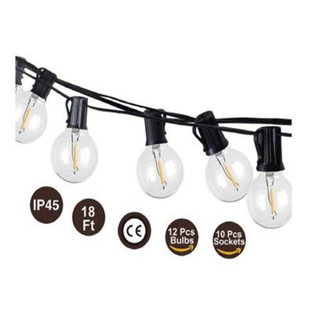 Tira de luces LED G40 de 1W, bombillas de globo de 18/26 pies, 2700K, impermeables, para Patio, jardín, Patio, Patio trasero, decoraciones bodas fiestas