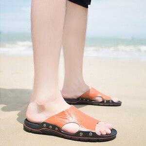 Image 5 - Мужские кожаные шлепанцы для улицы, Повседневные тапочки, летняя обувь на плоской подошве, пляжные тапочки, размера плюс, 4 цвета