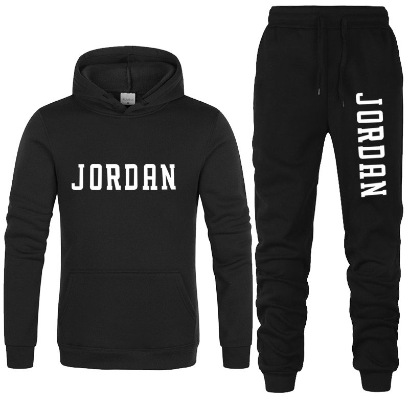 New 2020 Brand Tracksuit Fashion 23 Men Sportswear Two Piece Sets All Cotton Fleece Thick Hoodie+Pants Sporting Suit Male